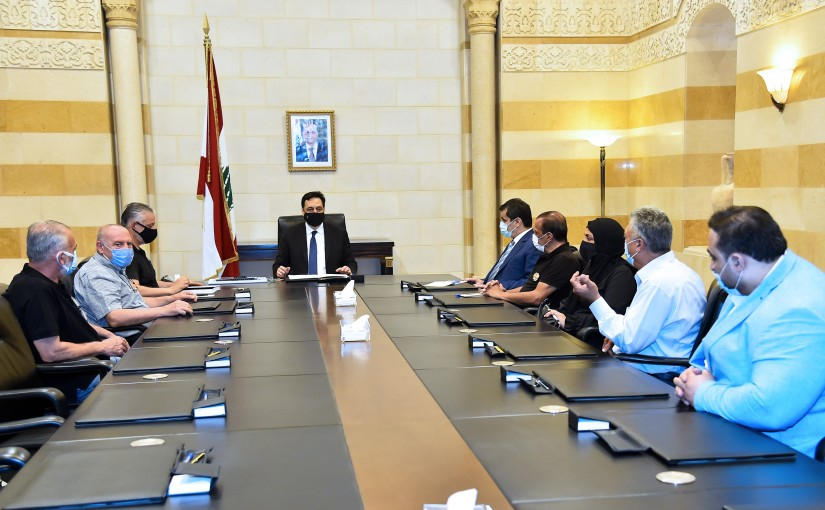 Pr Minister Hassan Diab meets a Delegation from a delegation of the families of the martyrs of the port