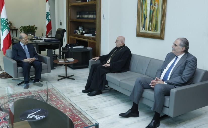 President Michel Aoun meets Bishop Issam Darwich & Former Minister Selim Jreysati