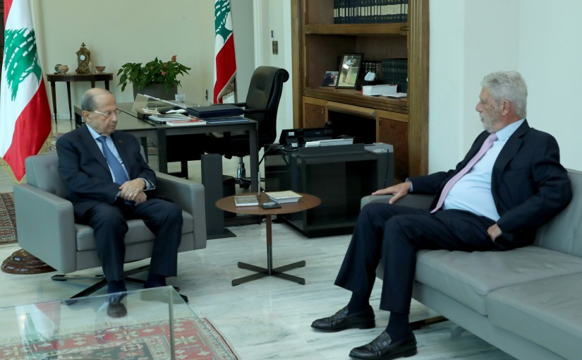 President Michel Aoun Meets Former Minister Maurice Sehnaoui