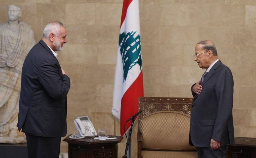 President Michel Aoun Meets Senior Political Leader of Hamas Ismail Haniyeh