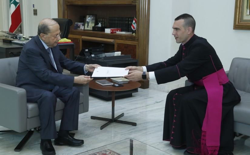 President Michel Aoun Meets Secretary of the Apostolic Nunciature Mgr Gueseppe Francone