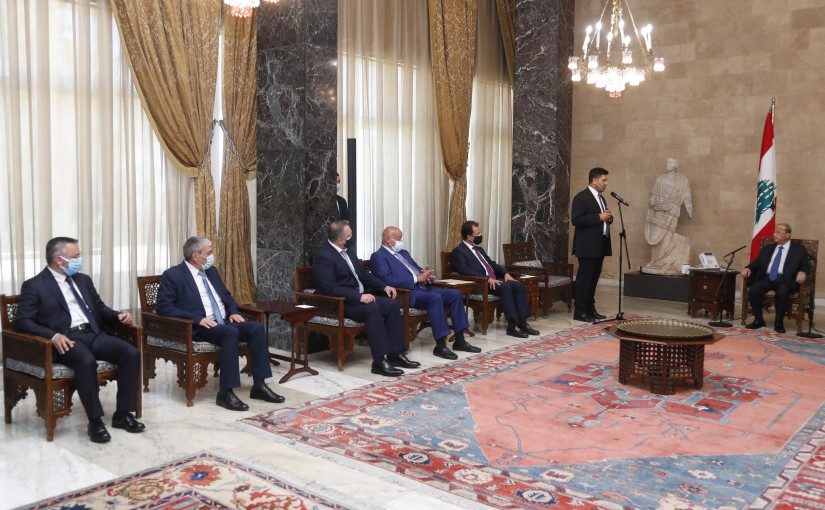 President Michel Aoun Meets Minister of Energy & Water Raymond Ghajar with a Delegation