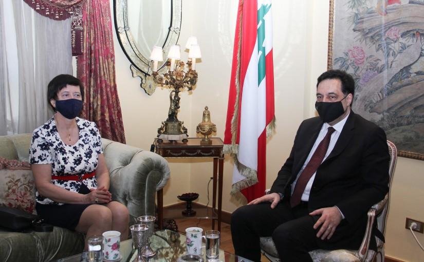 Pr Minister Hassan Diab meets Mrs Yona Fronteska