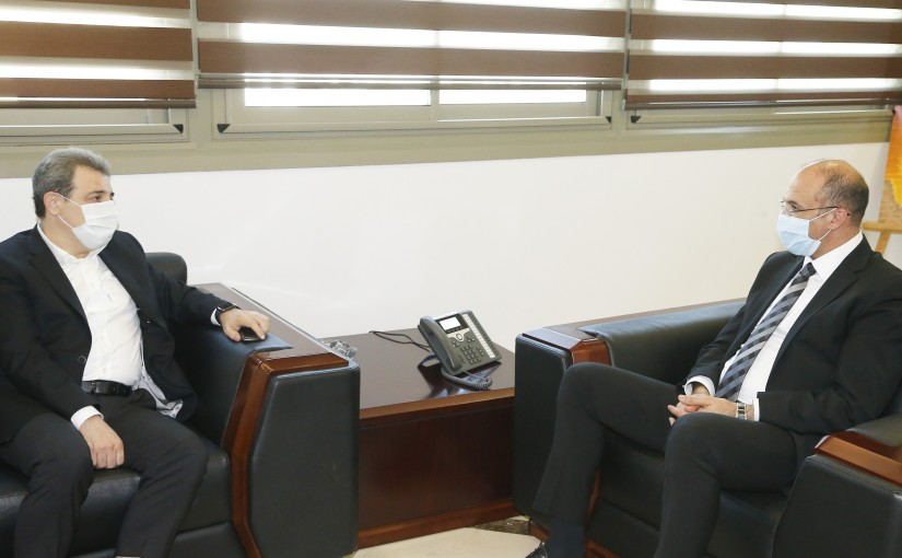 Minister Hassan Hamad meets MP Wael Abou Faour
