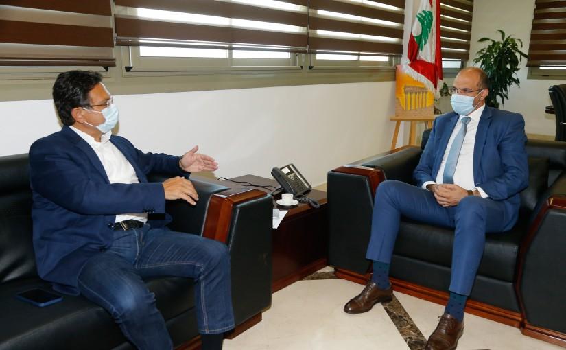 Minister Hassan Hamad meets MP Farid El Khazen
