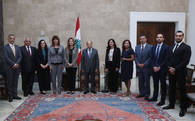 President Michel Aoun Meets Syndicate of Pharmaceutical Industries Headed By Dr Carole Abi Karam