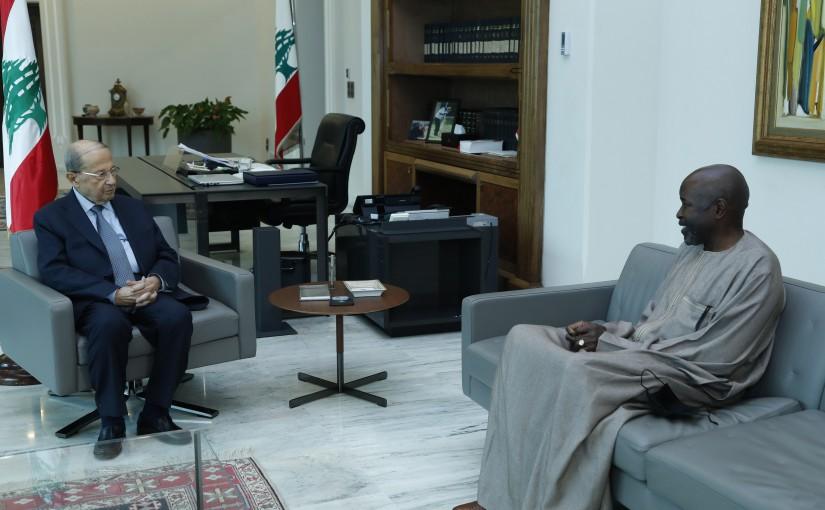 President Michel Aoun meets Senegal Ambassador in Lebanon