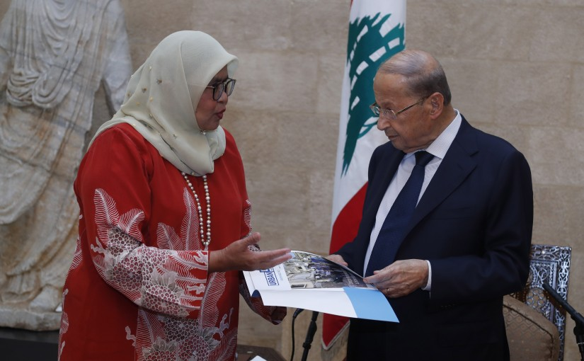 President Michel Aoun Meets a Delegation From The United Nations Human Settlements Programme Headed By Mrs Maimunah Mohd Sharif