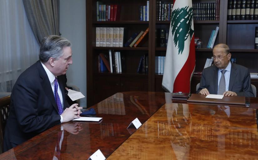 President Michel Aoun Meets US Mediator Between Lebanon & Israel on the Disputed Maritime Boundary Ambassador Jhon Desrocher