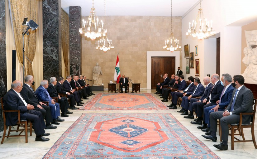 President Michel Aoun Meets a Delegation of The Strong Lebanon Parliamentary Bloc