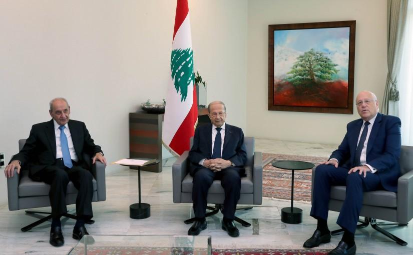 President Michel Aoun Meets House Speaker Nabih Berri & Pr Minister Najib Mikati