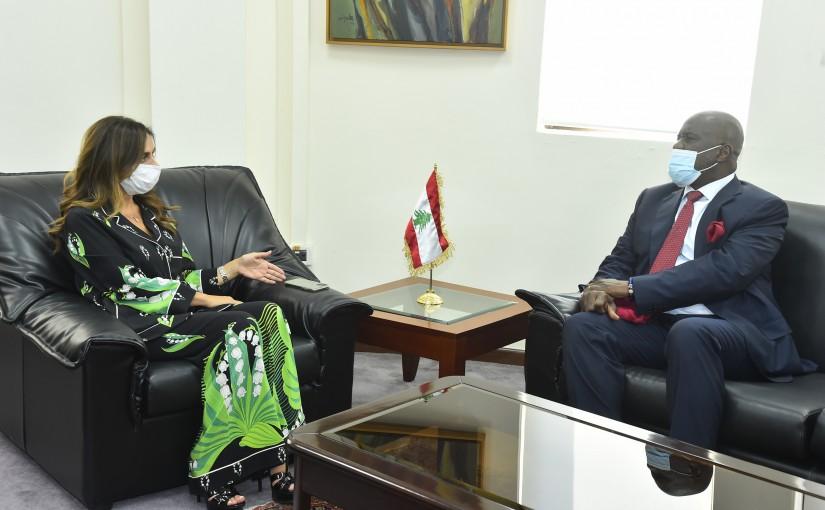 Minister Zeina Akkar meets Ghana Ambassador
