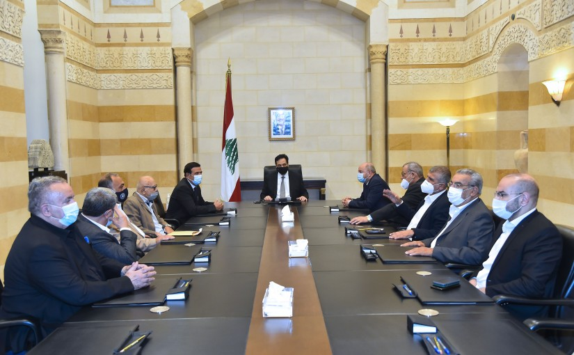Pr Minister Hassan Diab meets a Delegation from Labour Syndicate