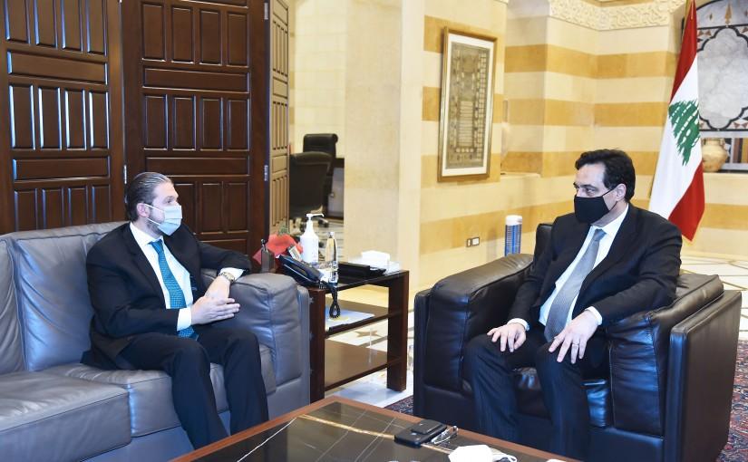 Pr Minister Hassan Diab meets MP Faycal Karame
