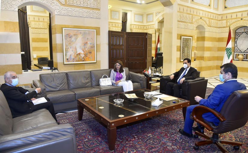 Pr Minister Hassan Diab meets Minister Ghada Shrim