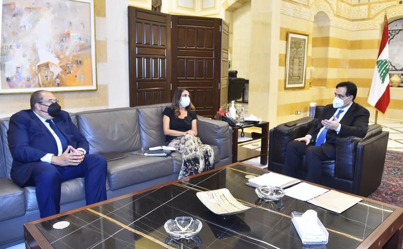 Pr Minister Hassan Diab meets Minister Zeina Akkar