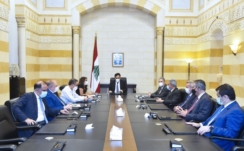Pr Minister Hassan Diab meets a Delegation from Banks Syndicate