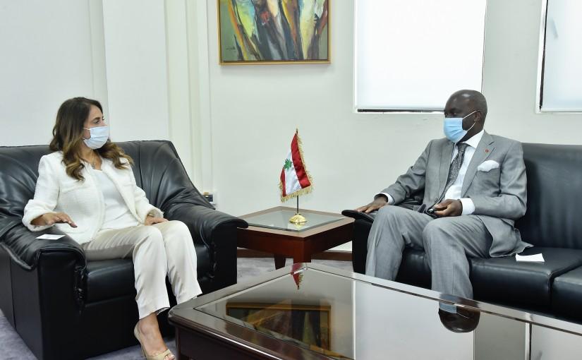 Minister Zeina Akkar meets Angola Ambassador
