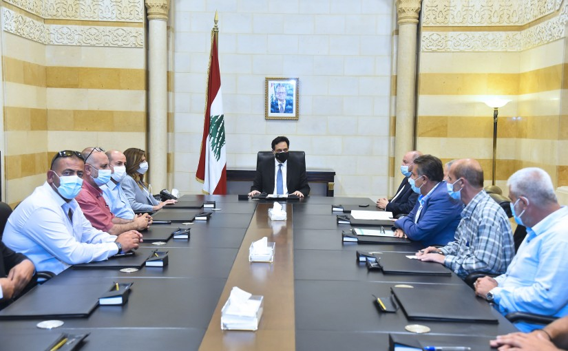 Pr Minister Hassan Diab meets Minister Lamya Yamine with a Delegation
