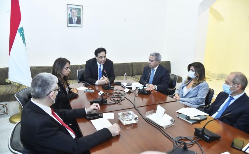 Pr Minister Hassan Diab Heading a Financial Crisis Meeting