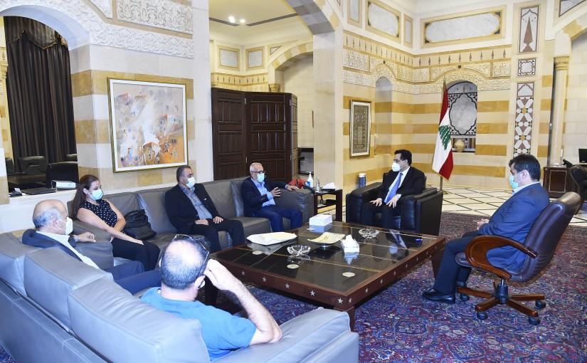 Pr Minister Hassan Diab meets a Delegation from El Khiam Families