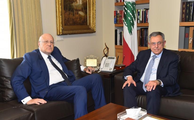 Former Pr Minister Fouad Siniora meets Pr Minister Najib Mikati