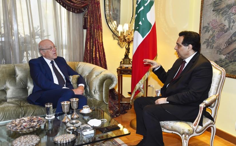 Pr Minister Hassan Diab meets Pr Minister Najib Mikati