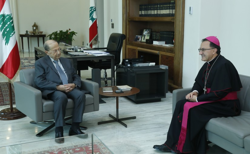 President Michel Aoun Meets Apostolic Ambassador