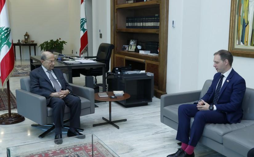 President Michel Aoun Meets British Ambassador Ian Collard & Mr Gavin Tench