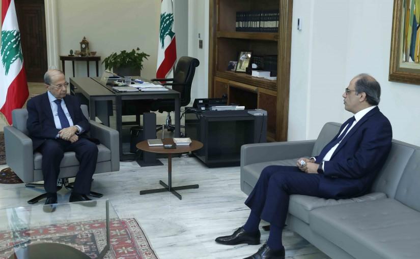 President Michel Aoun Meets Former Minister Jihad Azour