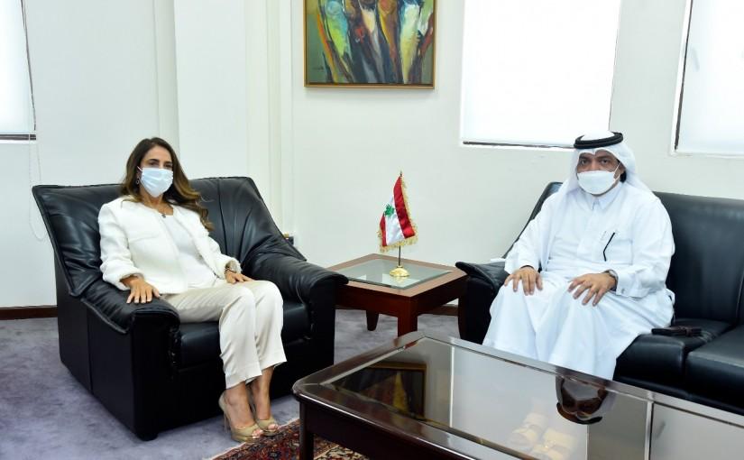 Minister Zeina Akkar meets Qatar Ambassador