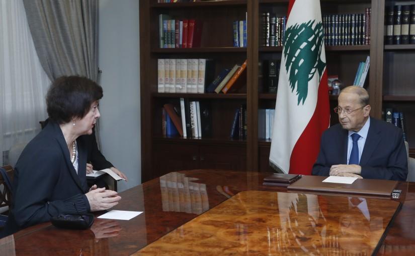 President Michel Aoun Meets United Nations Special Coordinator for Lebanon Joanna Wronecka