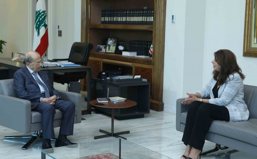 President Michel Aoun Meets Minister of The Displaced Ghada Shrim