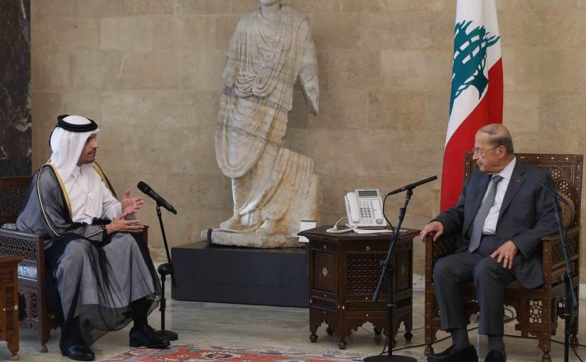 President Michel Aoun Meets Qatar Minister of Foreign Affairs Mohammed Bin Abdulrahman bin Jassim Al Thani