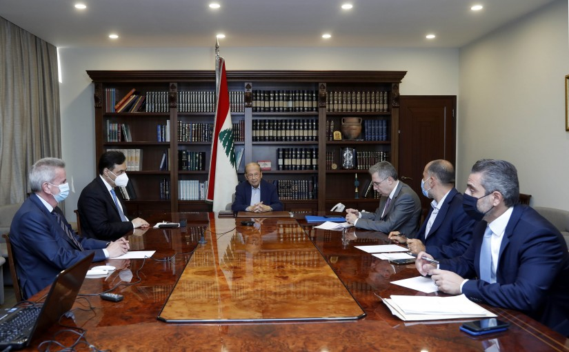 President Michel Aoun chaired a meeting at Baabda Palace to address the fuel crisis in the presence of the Prime Minister.