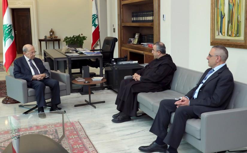 President Michel Aoun meets Father Michel Abboud & Dr. Nicola Al Hajjar.