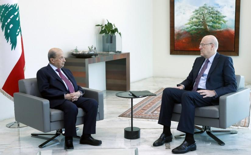 President Michel Aoun meets Pr Minister Najib Mikati