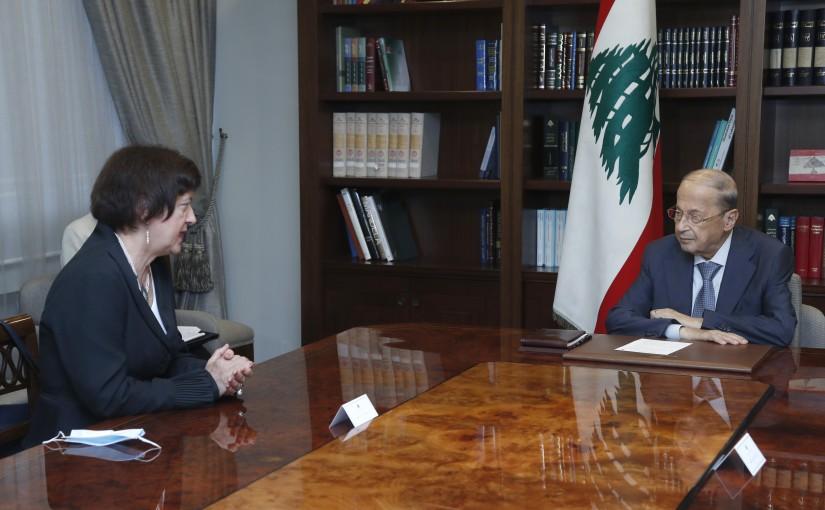 President Michel Aoun Meets UN Special Coordinator for Lebanon Joanna Wronecka