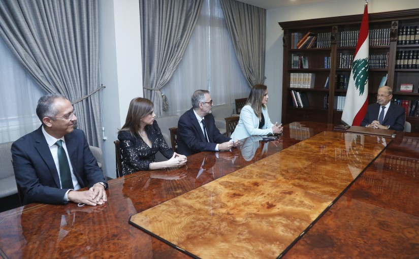 President Michel Aoun Meets Minister Manal Abdel Samad with a Delegation From Tele Liban