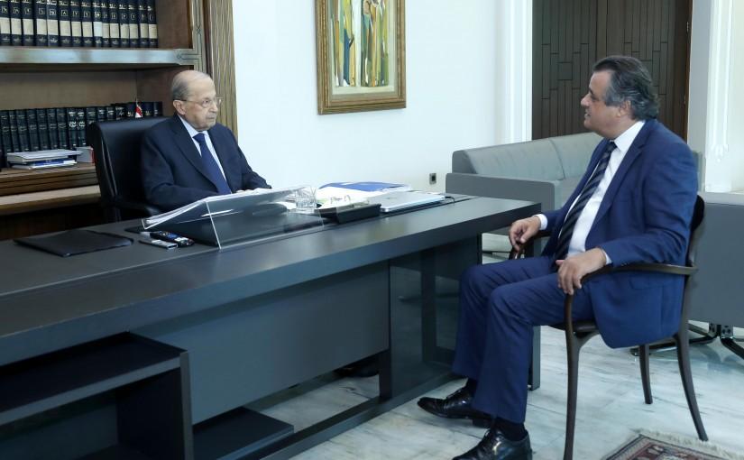 President Michel Aoun meets MP Roger Azar