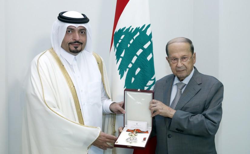 President Michel Aoun Meets Qatar Amassador Mohamad Hassan Jaber El Jaber