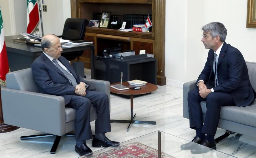 President Michel Aoun meets Minister  Walid Fayyad.