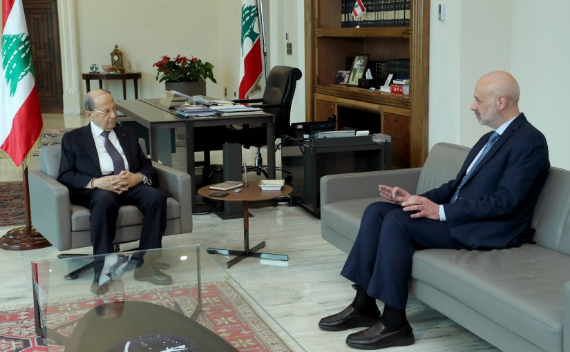 President Michel Aoun meets Minister Bassam Mowali