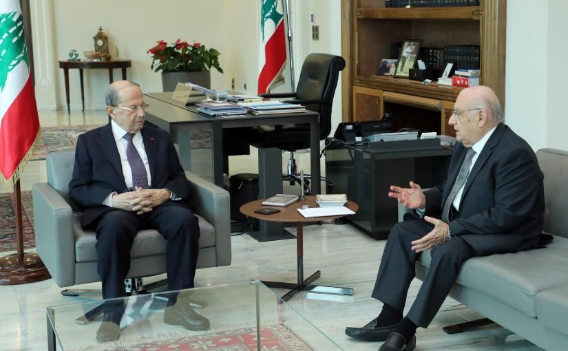 President Michel Aoun meets Former MP Naamatalla Abi Nasr