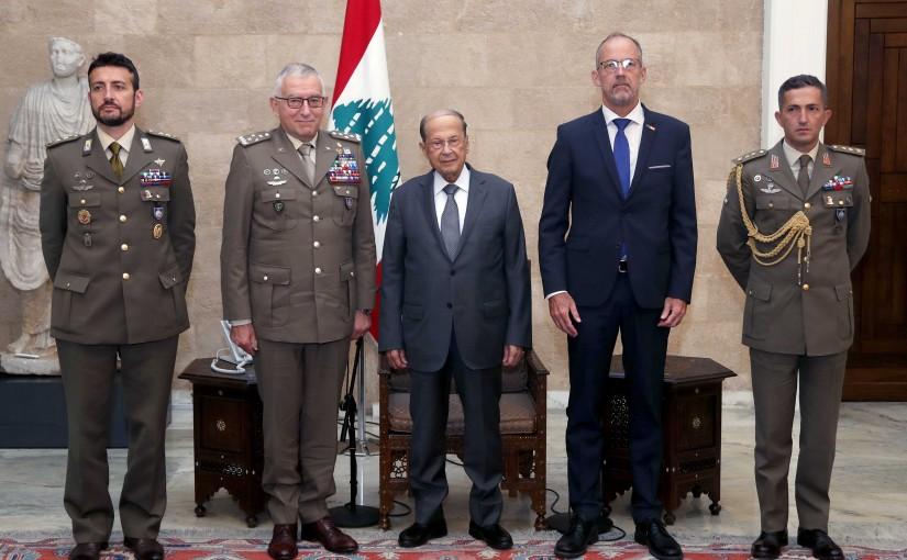 President Michel Aoun meets General Claudio Graziano with a delegation.