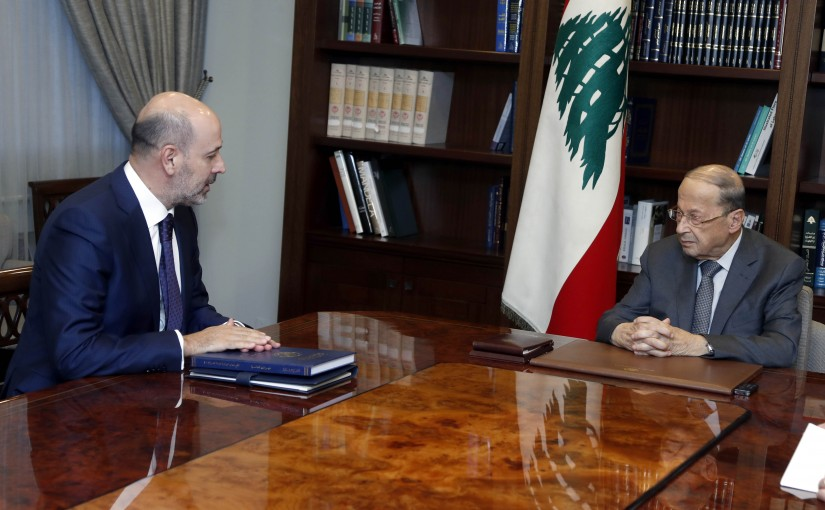 President Michel Aoun meets Judge Mouhamad Badran with a delegation.