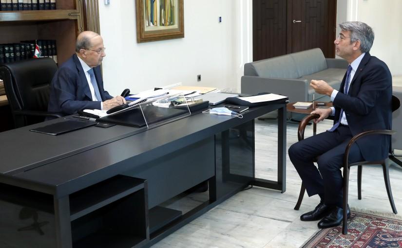 President Michel Aoun meets Minister  Walid Fayayad.