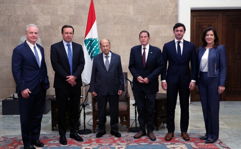 President Michel Aoun meets Senator Chris Murphy with a Delegation