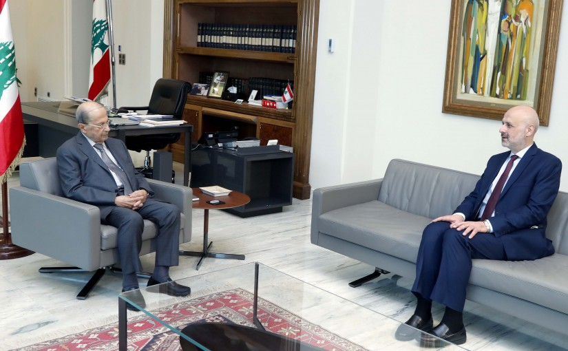 President Michel Aoun meets  Minister Bassam Mowlawi.