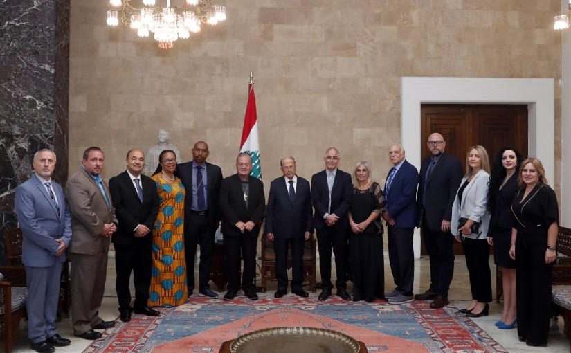 President Michel Aoun meets with a delegation of bishops of the American evangelical churches.